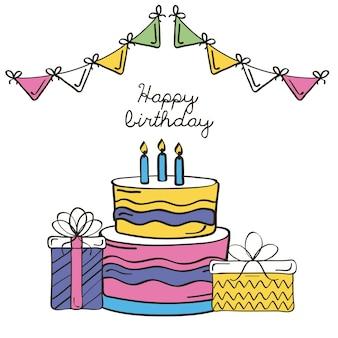 Zadowolony urodziny napis karty, prezenty i ciasto