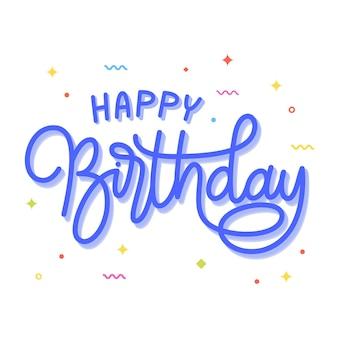Zadowolony urodziny napis monoline wektor. piękne urodziny kartkę z życzeniami. uroczystość na przyjęcie urodzinowe