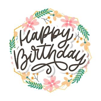 Zadowolony urodziny napis tekst kaligrafii