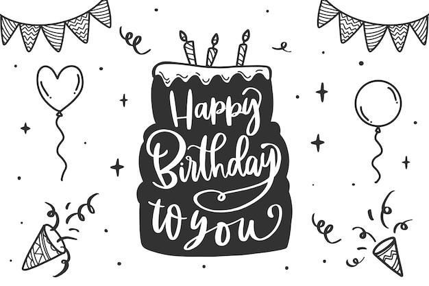 Zadowolony urodziny napis z ciastem