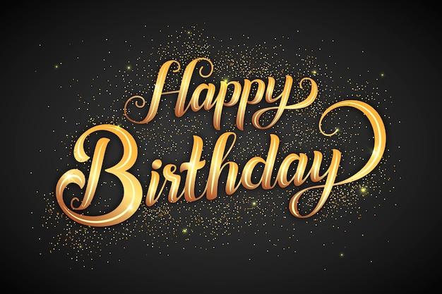 Zadowolony urodziny napis ze złotymi literami