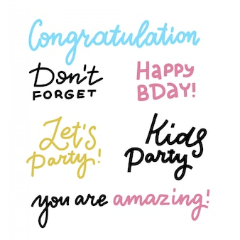 Zadowolony urodziny napis znak cytat zestaw typografii. projekt kaligrafii na projekt plakatu pocztówki. prosta linia kaligrafii. elementy projektu happy birthday karty. zróbmy imprezę. nie zapomnij