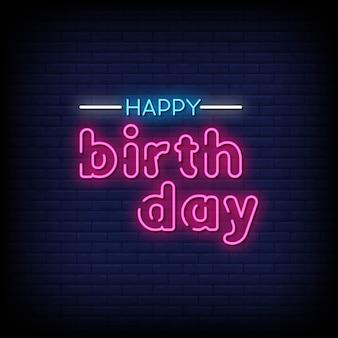 Zadowolony urodziny neon napis