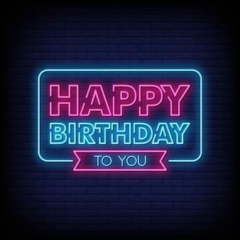 Zadowolony urodziny neon znak