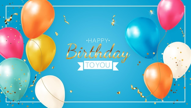 Zadowolony urodziny niebieski transparent z realistycznymi balonami, ramką i konfetti.