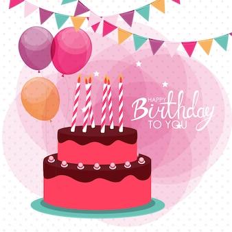 Zadowolony urodziny plakat tło z ciastem. ilustracja wektorowa