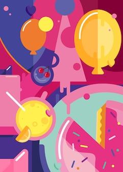 Zadowolony urodziny plakat z ciastem i balonami. projekt pocztówki wakacje w stylu streszczenie.