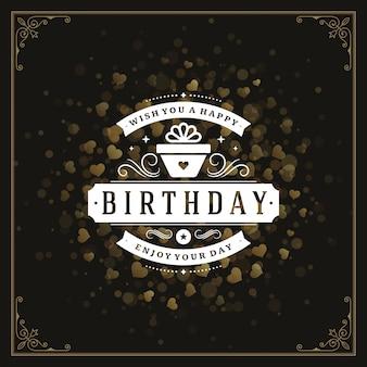 Zadowolony urodziny pozdrowienie projekt szablonu wektor.