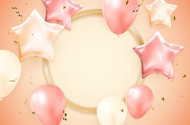 Zadowolony urodziny projekt transparentu gratulacje z konfetti, balony i błyszcząca wstążka brokat na tło strony wakacje. ilustracja wektorowa eps10
