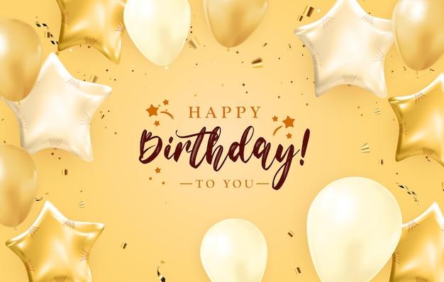 Zadowolony urodziny projekt transparentu gratulacje z konfetti, balony i błyszcząca wstążka brokat na tło strony wakacje. ilustracja wektorowa