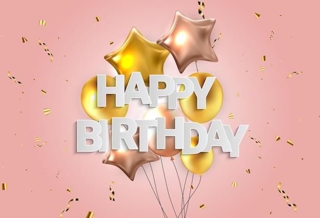 Zadowolony urodziny projekt transparentu gratulacje z konfetti, balony i błyszcząca wstążka brokat na tło strony wakacje. ilustracja