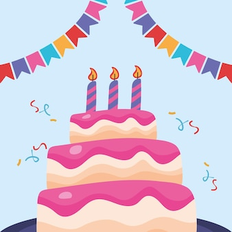 Zadowolony urodziny słodki tort z ilustracją girlandy i konfetti
