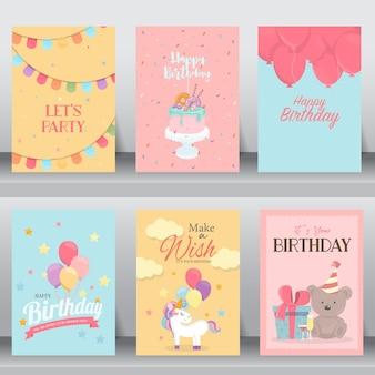 Zadowolony urodziny słodkie karty