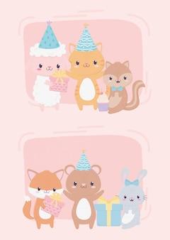Zadowolony urodziny słodkie zwierzęta prezenty party kapelusz cupcake uroczystości dekoracji karty