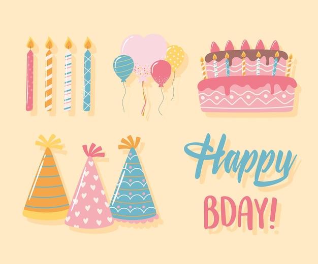Zadowolony urodziny świeczki kapelusze ciasto balony celebracja party kreskówki ikony zestaw ilustracji