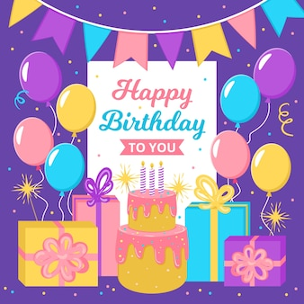 Zadowolony urodziny szablon karty z balonami