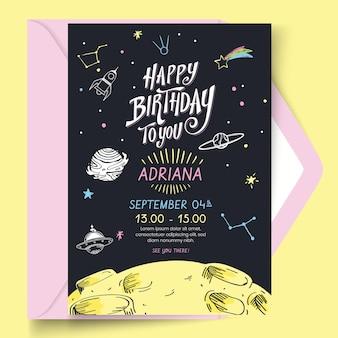 Zadowolony urodziny szablon tematu karty przestrzeni