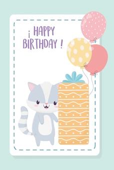 Zadowolony urodziny szop pracz z ozdobne pudełko ozdobne pudełko i balony