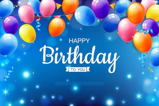 Zadowolony urodziny tekst tło z realistyczny balon