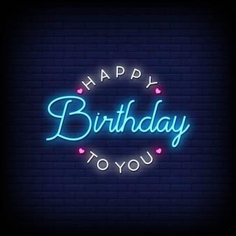 Zadowolony urodziny tekst w stylu neonów