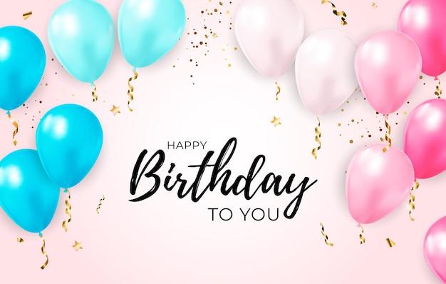 Zadowolony urodziny tło z realistycznymi balonami i konfetti