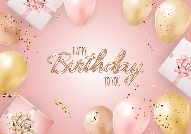 Zadowolony urodziny tło z realistycznymi balonami, pudełko i konfetti.