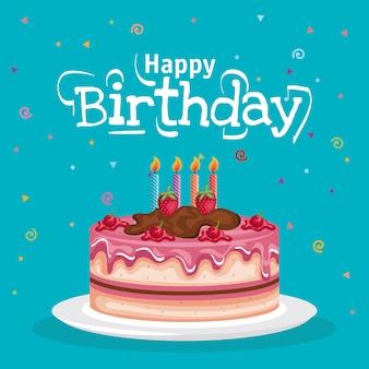 Zadowolony urodziny tort celebracja karta