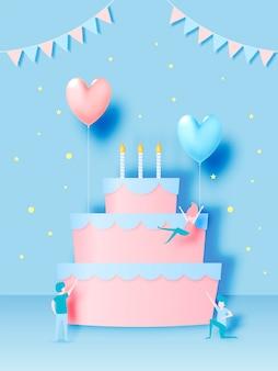 Zadowolony urodziny tort z papieru sztuki stylu i pastelowych kolorów schemat ilustracji wektorowych