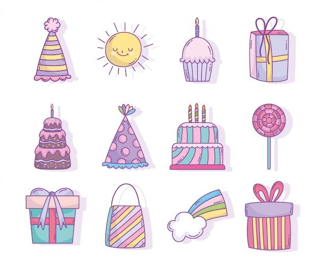 Zadowolony urodziny uroczystości party dekoracje ciasta prezenty kapelusz cukierki