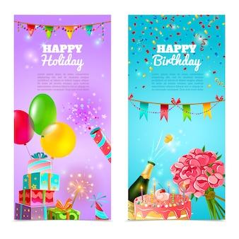 Zadowolony urodziny wakacje banery zestaw