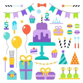 Zadowolony urodziny zestaw ikon płaski