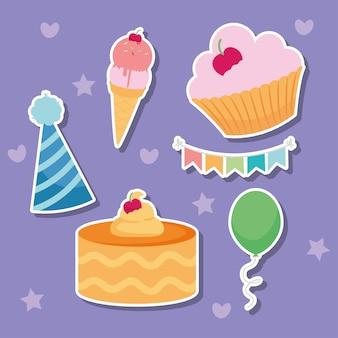 Zadowolony urodziny zestaw ikon