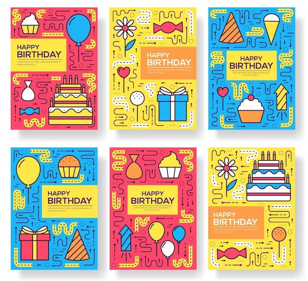 Zadowolony urodziny zestaw koncepcji szablonu infografiki