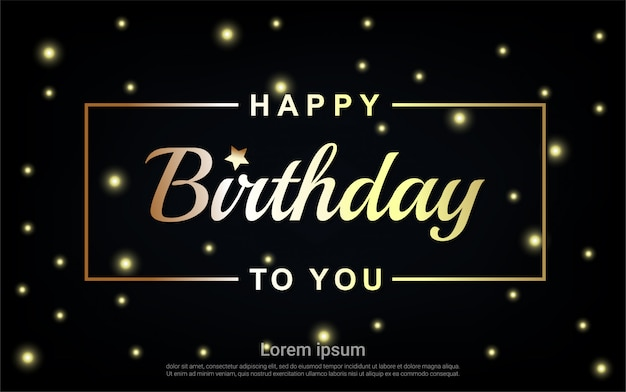 Zadowolony urodziny złoty list ze złotą gwiazdą i złotą ramą
