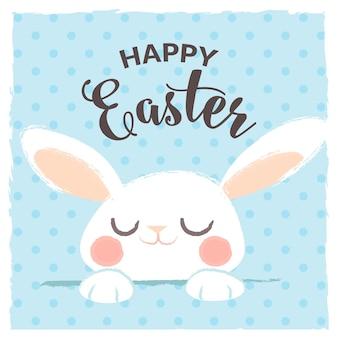 Zadowolony z pozdrowieniami wielkanoc z cute królik
