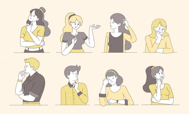 Zadumani, przemyślani ludzie kreskówka wektorów. myślący młodzi chłopcy i dziewczęta, zamyślone, zdziwione kobiety, mężczyźni o niepewnych twarzach. kobieta i mężczyzna izolowane znaki konturowe szukają rozwiązania