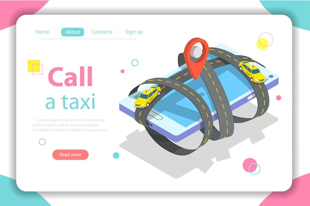 Zadzwoń do płaskiego izometrycznego szablonu internetowego taksówki.
