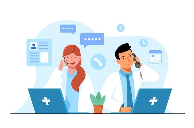 Zadzwoń koncepcja lekarza. lekarze odpowiadają na pytania pacjentów przez telefon.