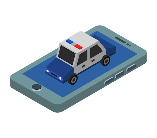 Zadzwoń na policję z izometrycznego smartfona