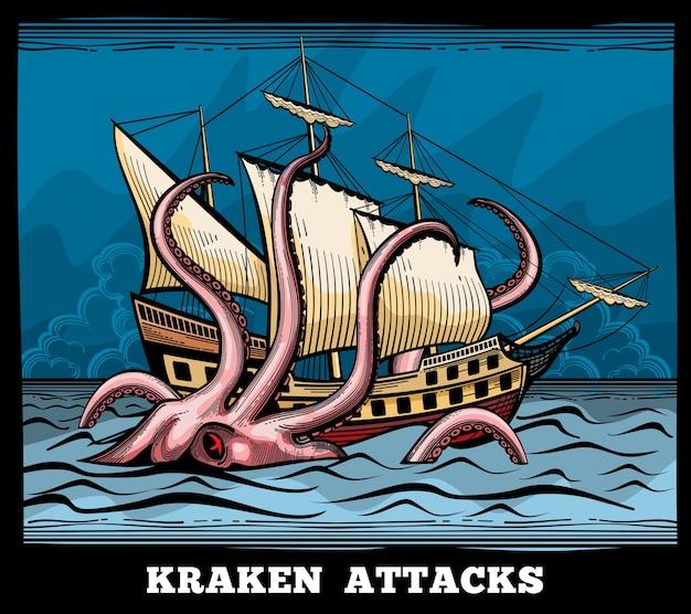 Żaglowiec i logo wektor ośmiornicy potwora kraken w stylu cartoon. kalmary z mitem macki, ilustracja podróży przygodowej