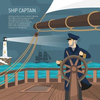 Żaglowiec kapitan morski płaski plakat