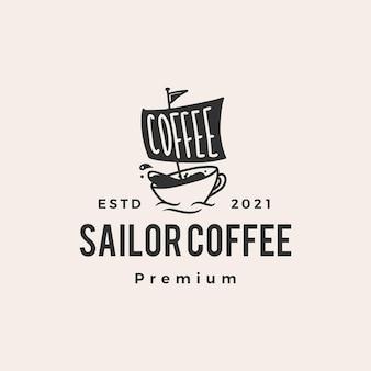 Żaglowiec kawiarni kawowej marynarz hipster vintage logo