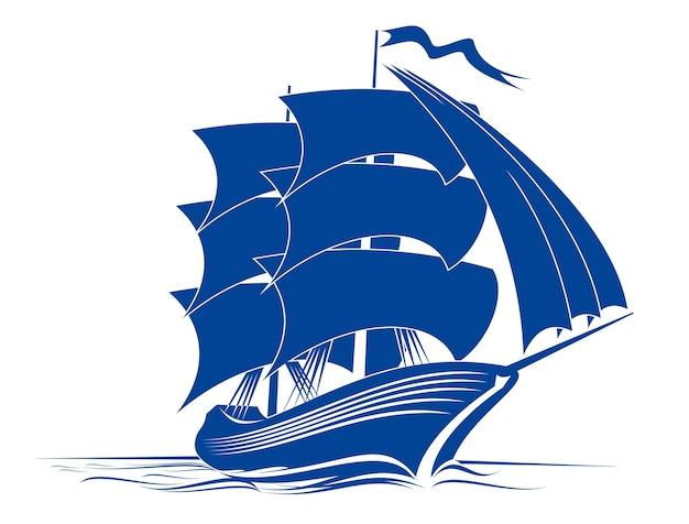 Żaglowiec w wodzie oceanu do podróży lub innego projektu