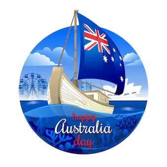Żaglowiec z flagą australii