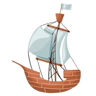 Żaglówka na białym tle. statek piracki. statek masztowy z żaglami.