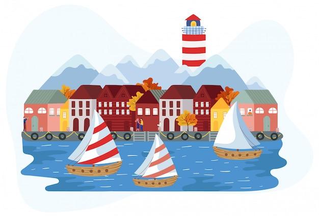 Żaglówki blisko skandynawskiego nadmorskiego miasteczka, ilustracja
