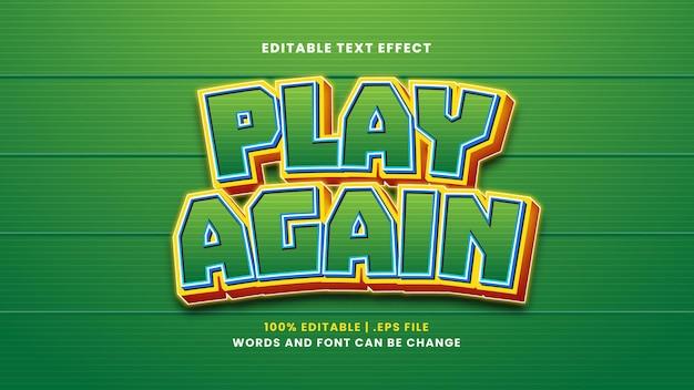 Zagraj ponownie edytowalny efekt tekstowy w nowoczesnym stylu 3d