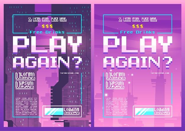 Zagraj ponownie w plakat pixel art na noc lub klub gier