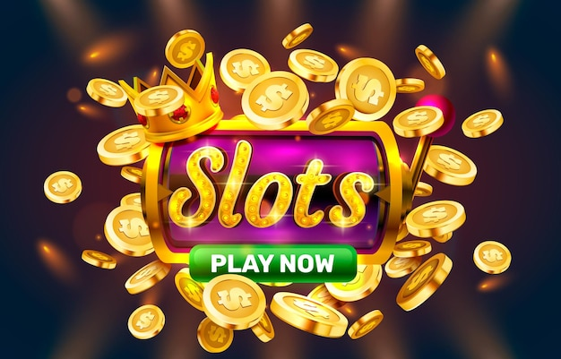 Zagraj teraz sloty złote monety kasyno znak automat nocny jackpot vegas wektor