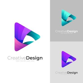 Zagraj w ikonę i kolorowy design, szablon logo 3d